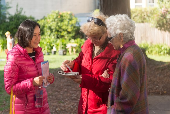 Now living in the United States, Peiqi Gu can openly practice Falun Gong. Her mission is to tell others about about the benefits of Falun Gong as shown here in a park in San Francisco on Oct. 24, 2016. (Cat Rooney/Epoch Times)