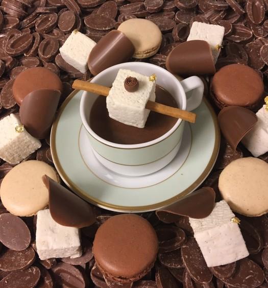 Ladurée's vanilla-flavored hot chocolate. (Courtesy of Valrhona)