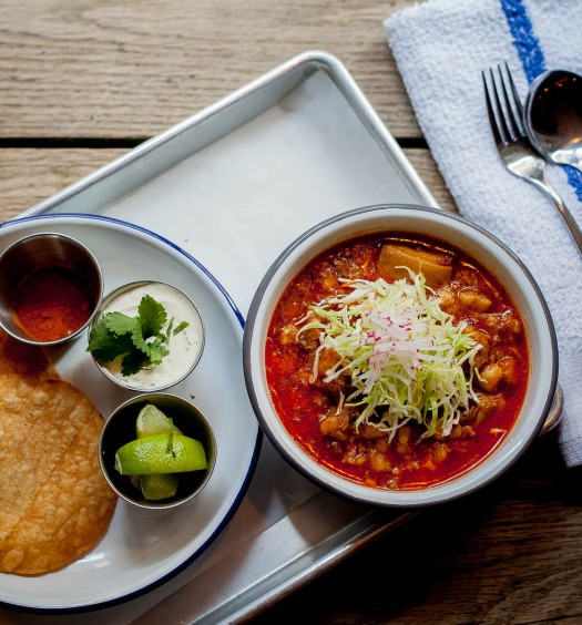 Posole stew with pork and hominy. (Christina Mule)
