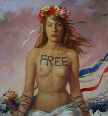 """""""Femen Flora,"""" 2014, by Patricia Watwood. Oil on linen, 28 inches by 26 inches. (Courtesy of Patricia Watwood)"""
