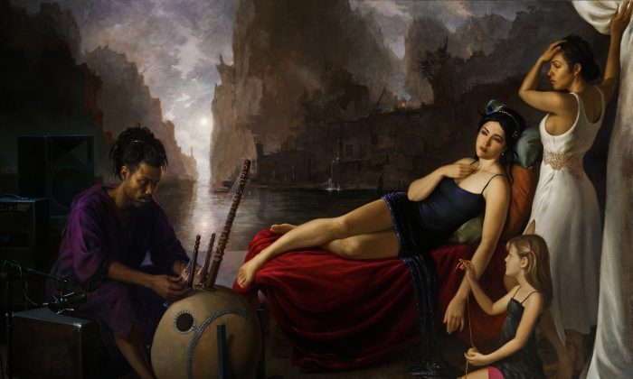 """""""Orpheus Playing for Persephone and Eurydice in the Underworld,"""" 2013, by Patricia Watwood. Oil on linen, 72 by 108 inches. (Courtesy of Patricia Watwood)"""