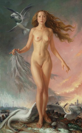 """Venus Apocalypse,"" 2013, by Patricia Watwood. Oil on linen, 64 inches by 40 inches. (Courtesy of Patricia Watwood)"