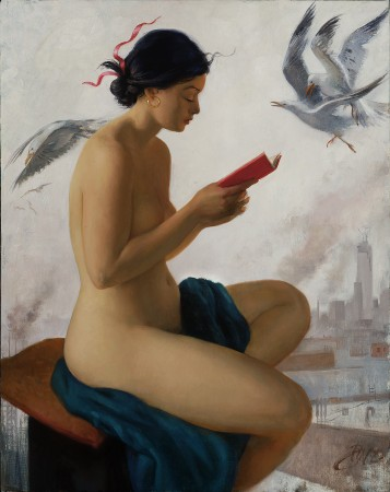 """""""Blue Sibyl,"""" 2013, by Patricia Watwood. Oil on linen, 20 inches by 16 inches. (Courtesy of Patricia Watwood)"""