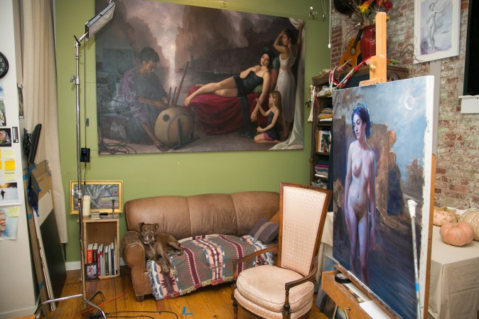 Patricia Watwood's home studio in Brooklyn, New York City, on Dec. 14, 2016. (Benjamin Chasteen/The Epoch Times)