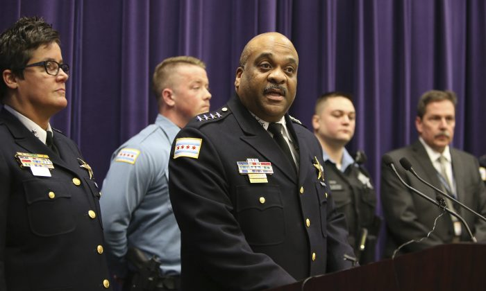 Chicago Police Superintendent Eddie Johnson during a news conference on Jan. 5, 2017.(Antonio Perez/Chicago Tribune via AP)