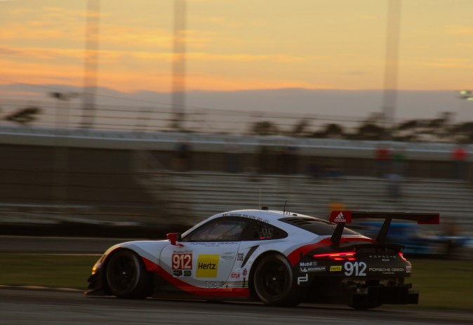 The #912 GTLM Porsche GT Team 911 RSR heads into the West Horseshoe as the Roar winds down. (Chris Jasurek/Epoch Times)