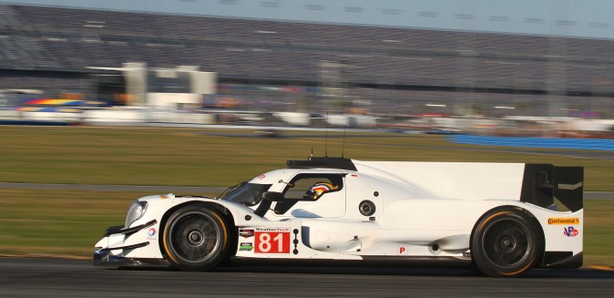 The blank white bodywork o the #81 Dragonspeed Oreca-Gibson really shows the car's contours. (Chris Jasurek/Epoch Times)