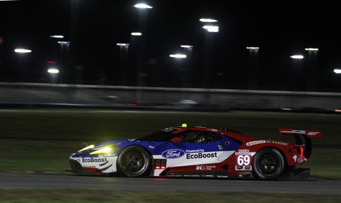 Andy Priaulx in the #69 Ford GT leads another 1–2–3 sweep in GTLM in Roar night practice. (Chris Jasurek/Epoch Times)