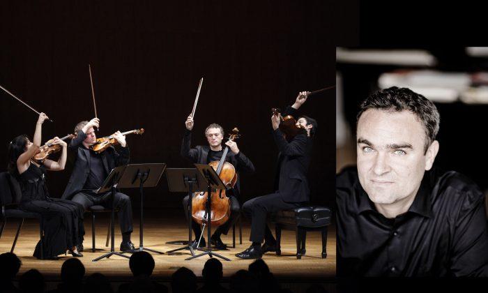 Left: Pacifica Quartet with (L-R) Simin Ganatra, Sibbi Bernhardsson, Brandon Vamos, and Masumi Per Rostad performing at the Met Museum. (Richard Termine) Right: Jörg Widmann. (Marco Borggreve)