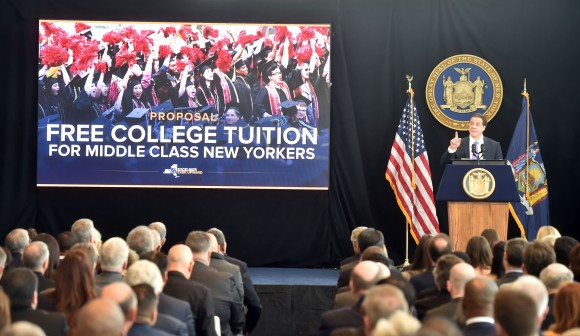 New York Gov. Andrew Cuomo talks about his plan for tuition-free public college for families of income under $125,000 at his State of the State address in New York, Jan. 9, 2017. (Office of Governor Andrew M. Cuomo)