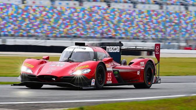 The #55 Mazda Motorsports RT24-P was fastest and second-quickest car on track at the Roar. if it lasts until Sunday afternoon it should be a contender for an overall win at the Rolex 24. (Bill Kent/Epoch Times)