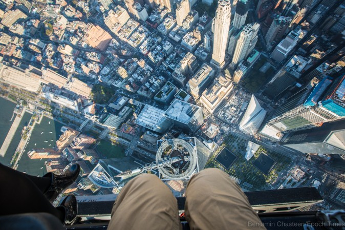 Looking down at the One World Trade Center. (Benjamin Chasteen/Epoch Times)
