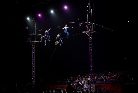 A Ringling Bros. and Barnum & Bailey high wire act performs in Orlando, Fla., on Jan. 14, 2017. (AP Photo/Chris O'Meara)