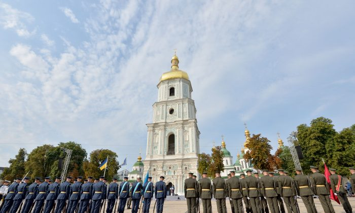 Soldiers of Honour Guard stand during National Flag Day celebrations in Kiev on Aug. 23, 2016, a day before the 25th anniversary of Ukrainian independence.  (GENYA SAVILOV/AFP/Getty Images)