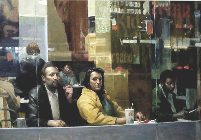 """""""Fast Food,"""" 2004, by Burton Silverman. Oil on linen, 23 inches by 52 inches. (Courtesy of Burton Silverman)"""