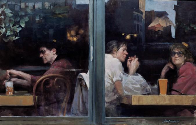 """Bagel Nosh,"" 1991, by Burton Silverman. Oil on linen, 52 inches by 32 inches. (Courtesy of Burton Silverman)"
