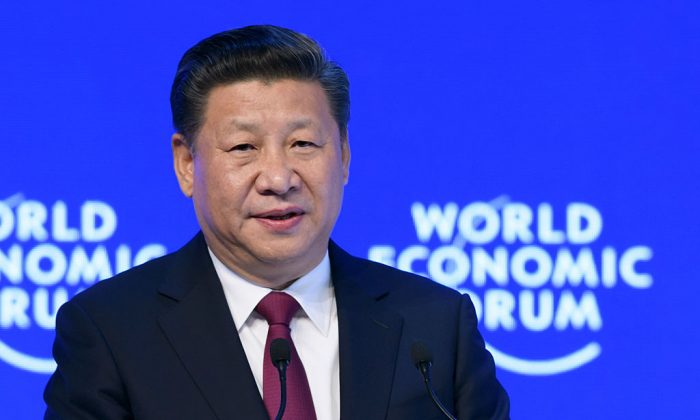 China's President Xi Jinping delivers a speech at the World Economic Forum in Davos, Switzerland, on Jan. 17, 2017.  (FABRICE COFFRINI/AFP/Getty Images)