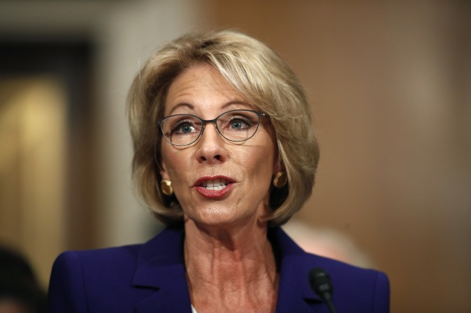 Education Secretary-designate Betsy DeVos testifies on Capitol Hill in Washington on Jan. 17, 2017. (AP Photo/Carolyn Kaster)