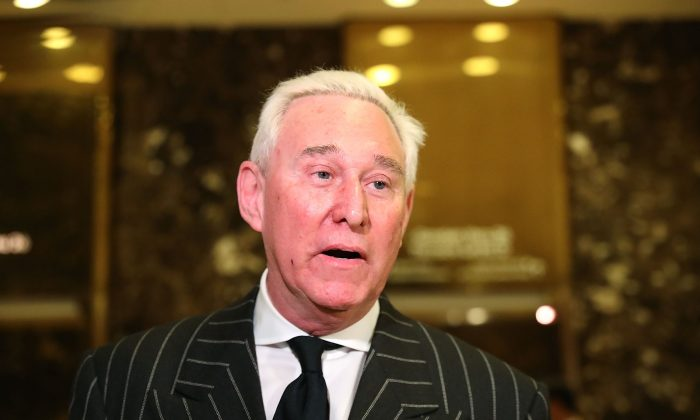Roger Stone speaks to the media at Trump Tower on Dec. 6, 2016 in New York City. Potential members of President-elect Donald Trump's cabinet have been meeting with him and his transition team over the last few weeks. (Spencer Platt/Getty Images)