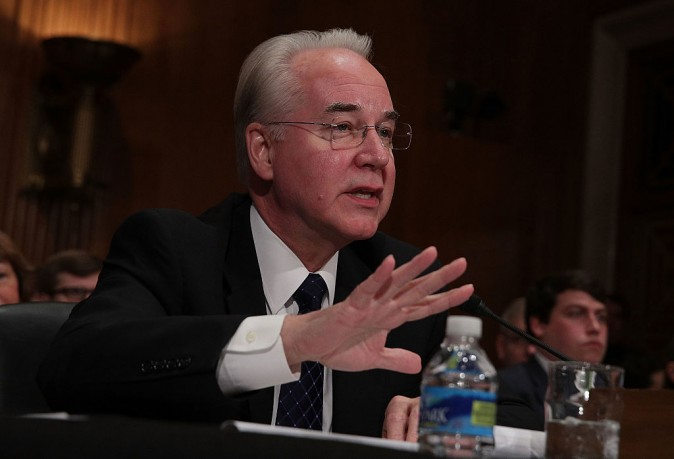 U.S. Health and Human Services Secretary Nominee Rep. Tom Price (R-GA) testifies during his confirmation hearing on Capitol Hill in Washington, DC. on Jan. 17, 2017.  (Photo by Alex Wong/Getty Images)