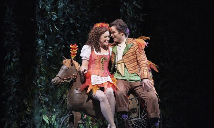 """Jacqueline Woodley as Papagena and Joshua Hopkins as Papageno in the Canadian Opera Company's production of """"The Magic Flute,"""" 2017. (Michael Cooper)"""