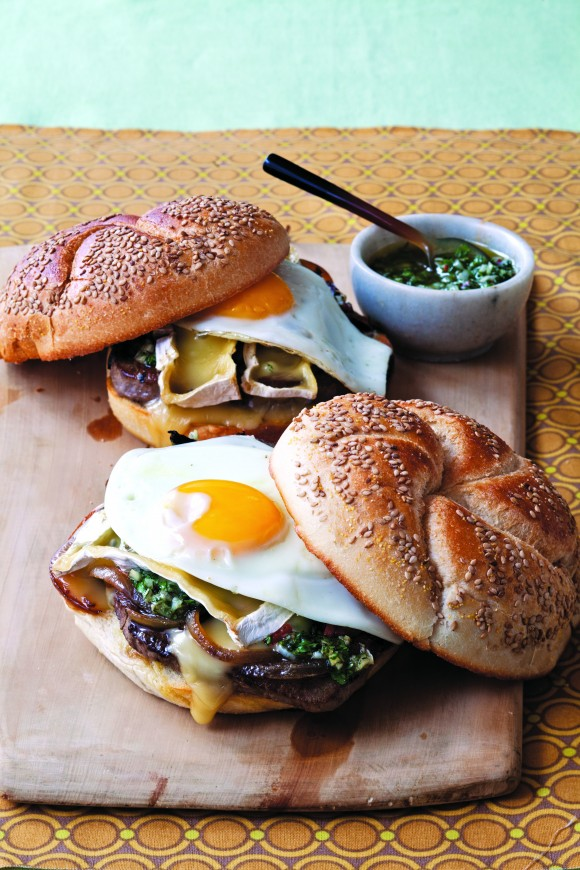 """Steak, Onions, Camembert, Fried Egg, and Chimichurri Sandwich for Anne Burrell's Cookbook, """"Own Your Kitchen"""" 2013"""