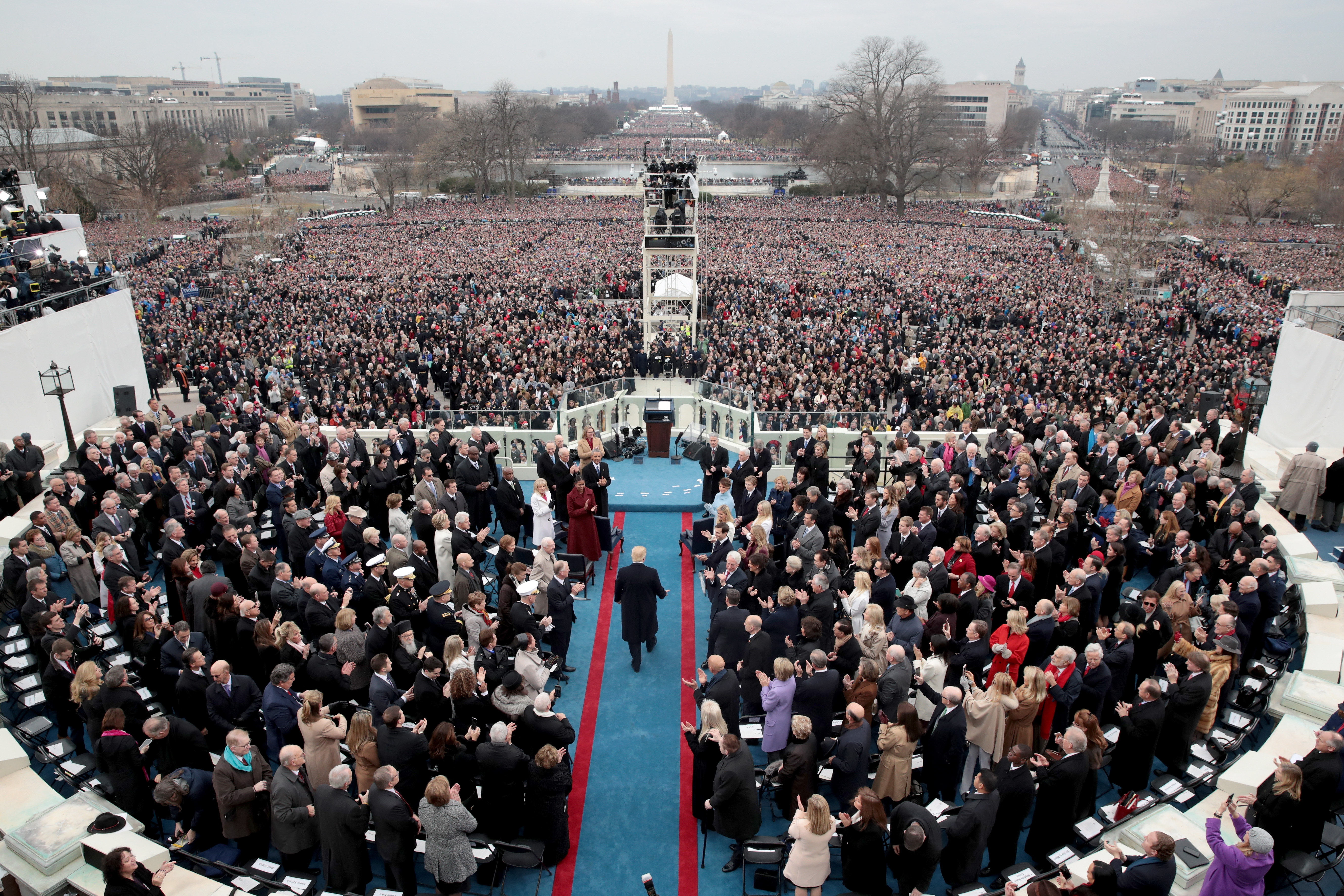 Photo Comparison of Trump's, Obama's Inaugurations