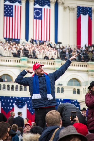A Trump supporter at the 58th Presidential Inauguration of Donald Trump at the U.S. Capitol in Washington, on Jan. 20, 2017. (Benjamin Chasteen/Epoch Times)