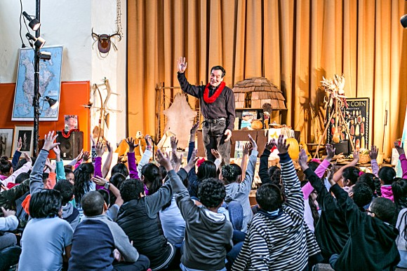 Tommy Cheng teaches American Indian culture to children at the Children's Cultural Center of Native America in Harlem, New York, on Jan. 12.
