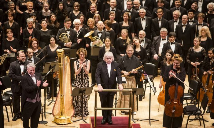 "Composer Karl Jenkins (C) at the North American premiere of his ""Cantata Memoria"" presented by DCINY at Carnegie Hall in New York City on Jan. 15, 2017. (Samira Bouaou/Epoch Times)"
