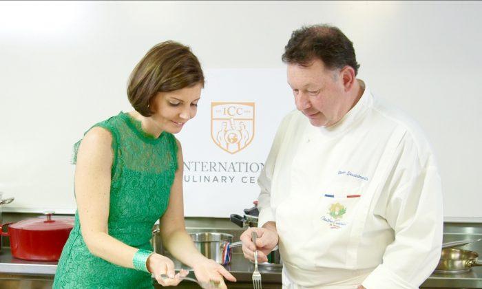 Sibylle Eschapasse and Olivier Desaintmartin at the International Culinary Center. (Melinda Martinez/Celebrity Taste Makers)