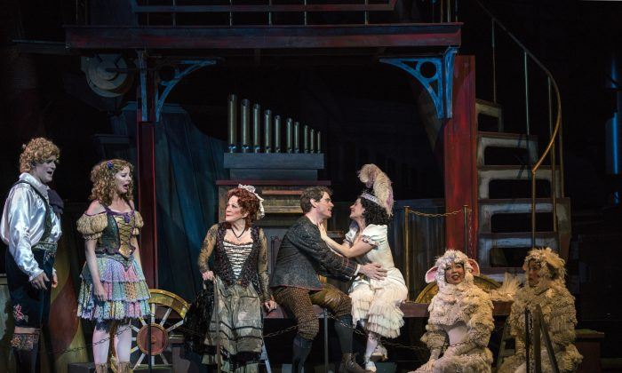 """(L–R) Keith Phares, Jessica Tyler Wright, Linda Lavin, Jay Armstrong Johnson, Meghan Picerno in """"Candide."""" (Sarah Shatz)"""