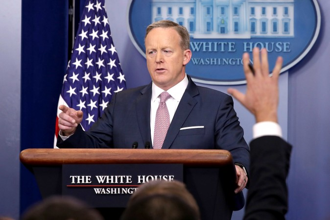 White House Press Secretary Sean Spicer holds the daily press briefing in the James Brady Press Briefing Room at the White House  in Washington, DC on Jan. 23, 2017. (Chip Somodevilla/Getty Images)