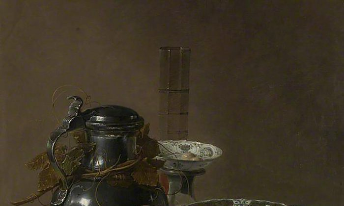 """""""Still Life with a Pewter Flagon and Two Ming Bowls,"""" 1651, by Jan Jansz. Treck (circa 1606–1652). Oil on canvas, 30 by 25 inches. (The National Gallery, London)"""