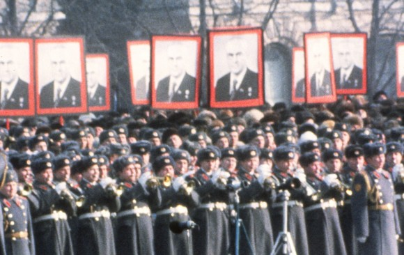 Soldiers in Moscow look on at the funeral of Soviet leader and former KGB head Yuri Andropov in 1984. Seven years later, the Soviet Union collapsed. (AFP/Getty Images)