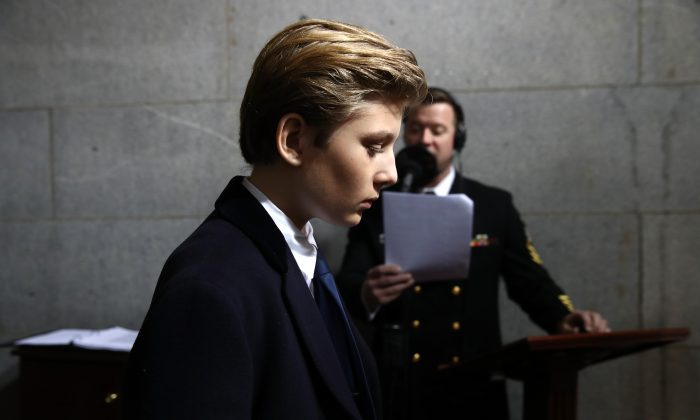 Barron Trump arrives on the West Front of the US Capitol for Donald Trump's inauguration ceremony, in Washington, DC, on Jan. 20, 2017. (WIN MCNAMEE/AFP/Getty Images)