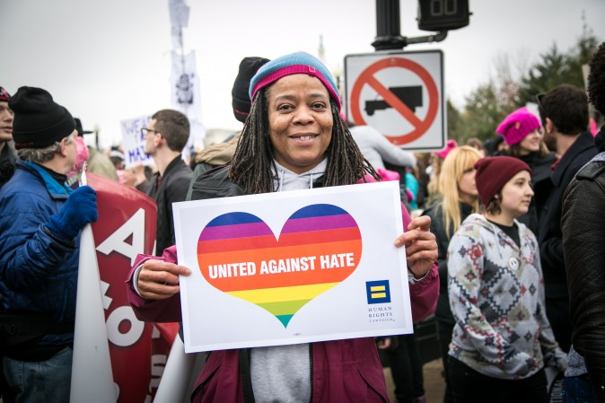 Kym-Kisha Nixon Baltimore from Baltimore at the Woman's March on Washington on Jan. 21. (Benjamin Chasteen/Epoch Times)
