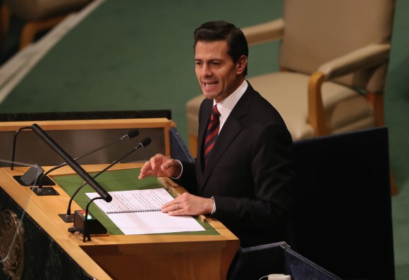 President of Mexico, Enrique Pena Nieto addresses the United Nations General Assembly in New York City on Sept. 20, 2016. Heads of state gathered to address global issues at the 71st annual meeting at the UN headquarters in New York. (John Moore/Getty Images)