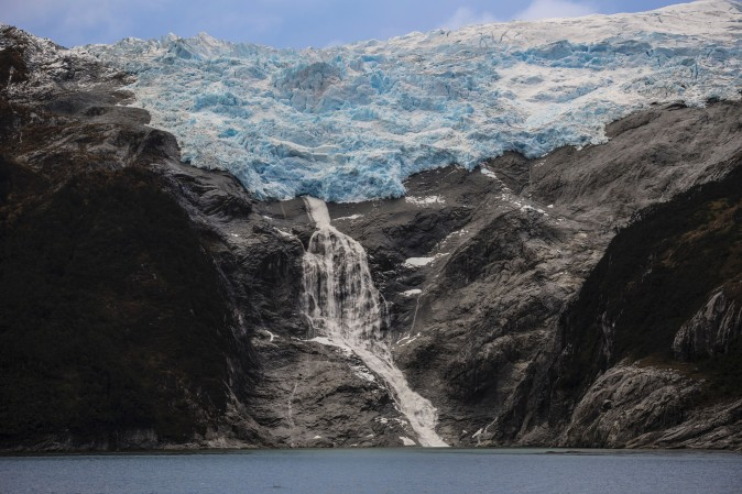 "The Romanche glacier to the northeast of the Beagle Channel, along the 230-km ""glaciers route"" in the Magallanes y Antartica Chilena region in southern Chile, on April 21. (MARTIN BERNETTI/AFP/Getty Images)"