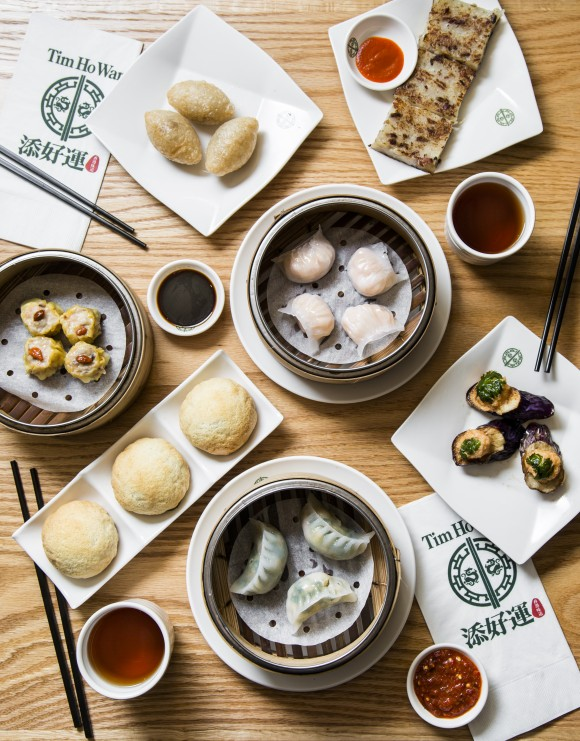 A spread of dim sum dishes at Tim Ho Wan in the East Village. (Samira Bouaou/Epoch Times)