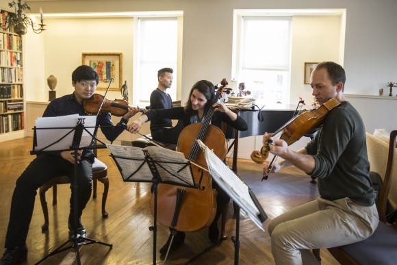 Siwoo Kim, David Fung, Andrea Cassarubios, and Luke Fleming rehearse in New York City on Jan. 25, 2017, for a Manhattan Chamber Players concert. (Samira Bouaou/Epoch Times)