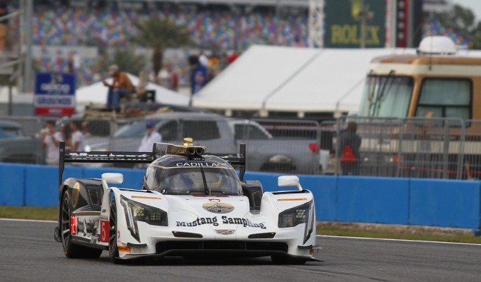 Joao Barbosa in the #5 Mustang Sampling Cadillac DPi V.R won the pole for the 2017 IMA WeatherTech Sportscar Championship Rolex 24 at Daytona. (Chris Jasurek/Epoch Times)