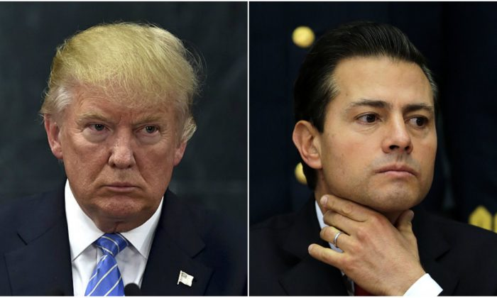 US President Donald Trump during a joint press conference with Mexican President Enrique Pena Nieto in Mexico City on Aug. 31, 2016;  Mexico's President Enrique Pena Nieto during a press conference at Los Pinos presidential residence in Mexico City, on Jan. 23, 2017.(YURI CORTEZ/AFP/Getty Images; AP Photo/Marco Ugarte)