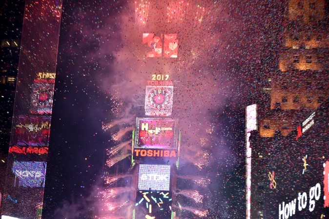 The ball dropping during New Year's Eve 2017 at Times Square in New York City at midnight on Jan. 1, 2017. (Theo Wargo/Getty Images)