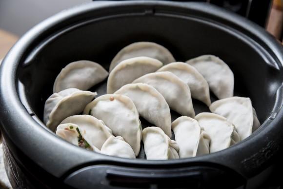 Dumplings ready to be fried. (Samira Bouaou/Epoch Times)