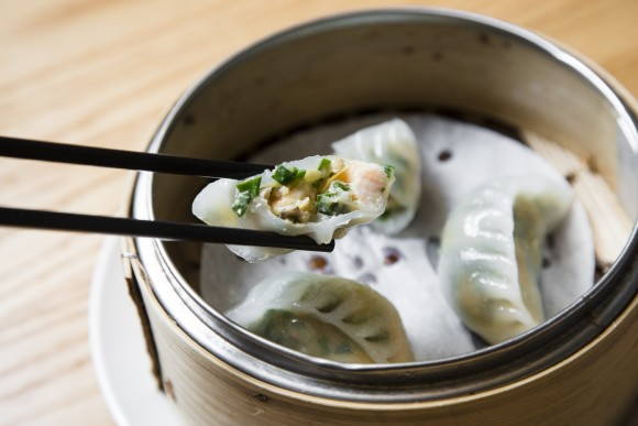 Steamed shrimp and chive dumplings at Tim Ho Wan dim sum restaurant in the East Village, on Jan. 13, 2017.