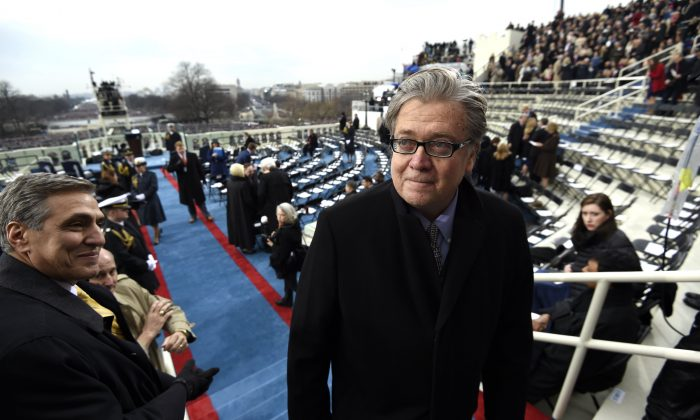 Steve Bannon, appointed chief strategist and senior counselor to President-elect Donald Trump, arrives for the Presidential Inauguration of Trump at the US Capitol in Washington, DC on Jan. 20, 2017. (Saul Loeb - Pool/Getty Images)