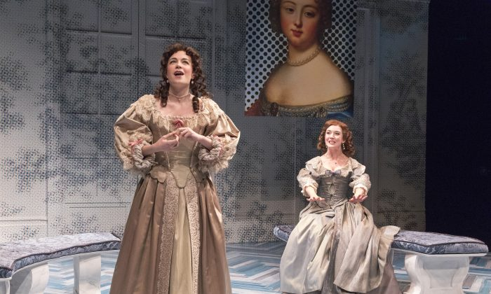 """(L–R) Clarice (Ismenia Mendes) and Lucrece (Amelia Pedlow) have very different ideas about the stories suitor Dorante tells, in """"The Liar."""" (Richard Termine)"""