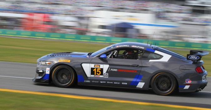Scott Maxwell in the #15 Multimatic Mustang led early in the race. (Chris Jasurek/Epoch Times)