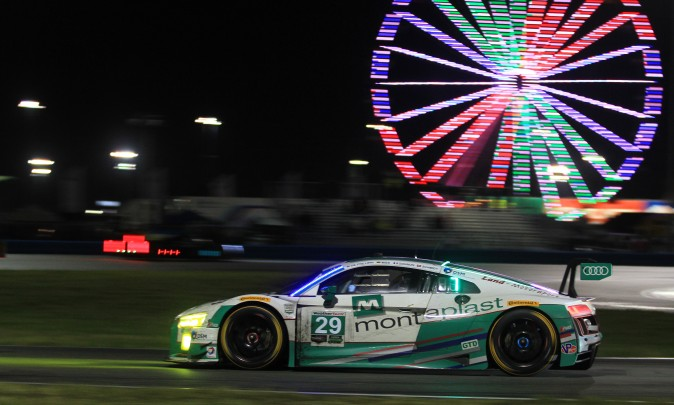 Connor De Phillippi in the #29 Montaplast Audi currently leads GTD. (Chris Jasurek/Epoch Times)